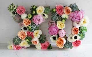 DIY ตัวอักษรประดับดอกไม้