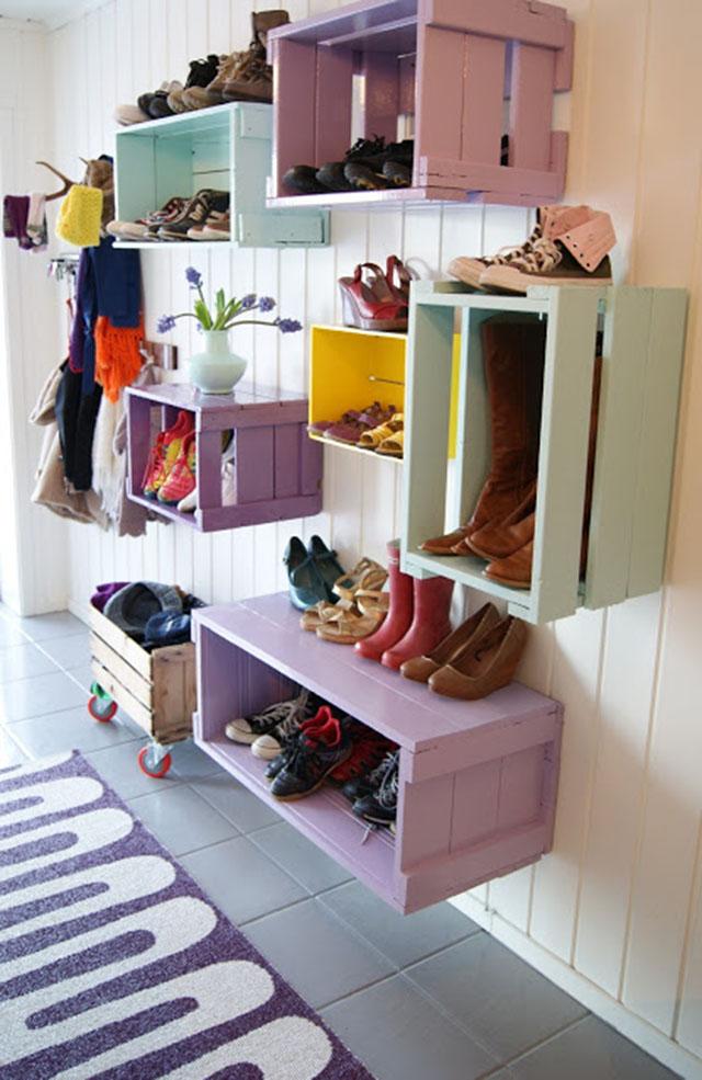 กล่องเก็บรองเท้าจากไม้พาเลต